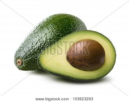 Pear-shaped Avocado Half Whole Isolated On White Background