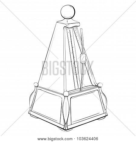 Vector Illustration Of Retro Metronome Made In Thumbnail Style