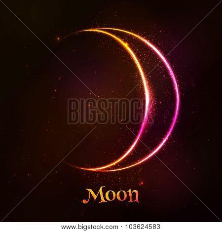 Shining neon light moon astrological symbol