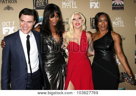 LOS ANGELES - OCT 3:  Finn Wittrock, Naomi Campbell, Lady Gaga, Angela Bassett at the