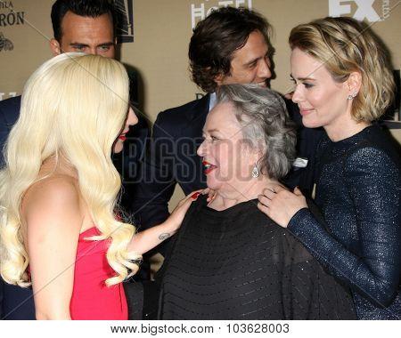 LOS ANGELES - OCT 3:  Lady Gaga, Kathy Bates, Sarah Paulson at the