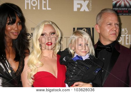 LOS ANGELES - OCT 3:  Naomi Campbell, Lady Gaga, Lennon Henry, Ryan Murphy at the