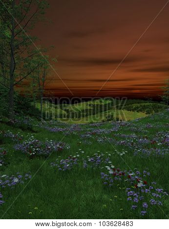 Blooming lawn with greenery and flowers at night
