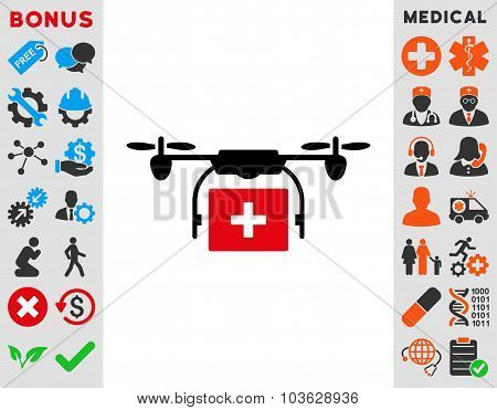 Medical Drone Shipment vector icon. Style is bicolor flat symbol, intensive red and black colors, rounded angles, white background. poster
