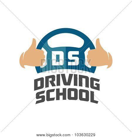 Driving School Logo Template. Steering Whell With Thumbs Up Hands.