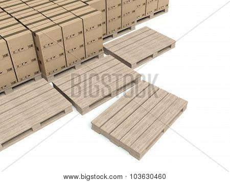 Cardboard Boxes On Wooden Paletts, Warehouse