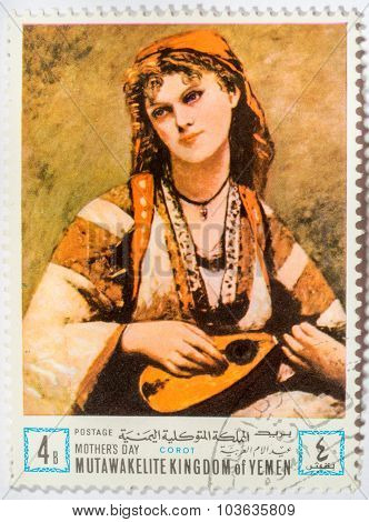Moscow, Russia - October 3, 2015: A Stamp Printed In The Yemen Arab Republic Shows Jean Baptiste Cam