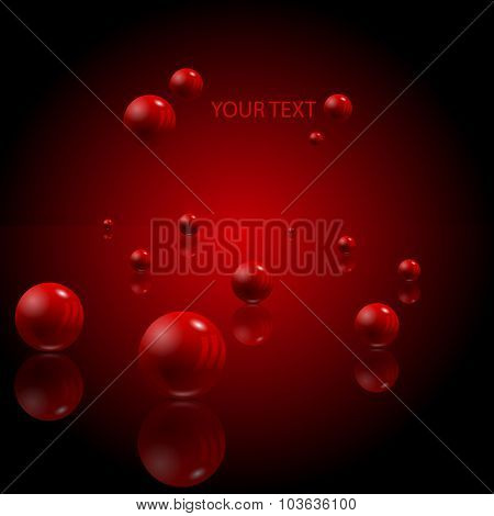 Abstract 3D Gradient Background With Red Balls, Eps 10 Vector Design.