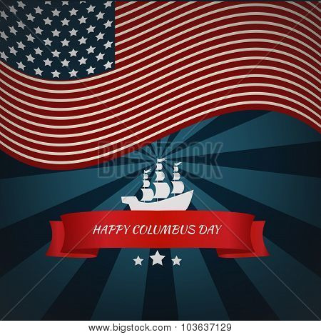 Happy Columbus Day Card Vector Eps 10