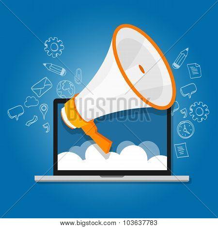 megaphone announce speaker shout online public relation marketing digital