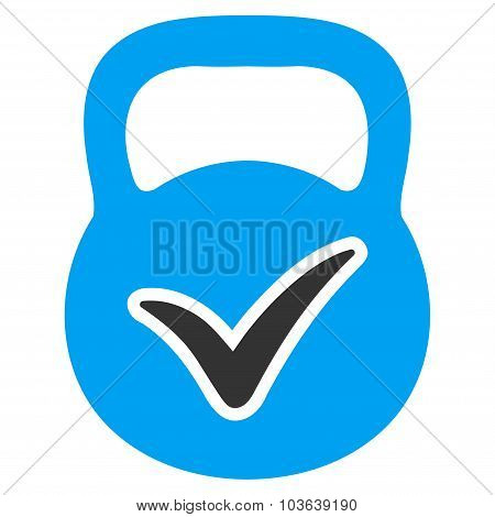 Valid Mass vector icon. Style is bicolor flat symbol, blue and gray colors, rounded angles, white background. poster