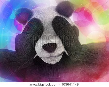 Sick Character Panda Bamboo Junkie Experiencing Strong Hallucinations And Fear Closes The Muzzle Paw