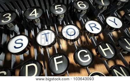 Typewriter With Story Button, Vintage