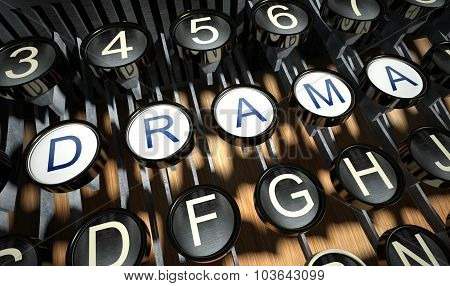 Typewriter With Drama Buttons, Vintage