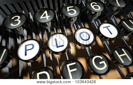 Typewriter With Plot Buttons, Vintage
