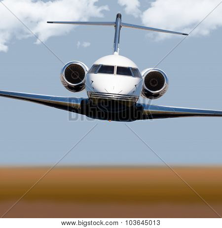 Front view of a private jet in-flight poster