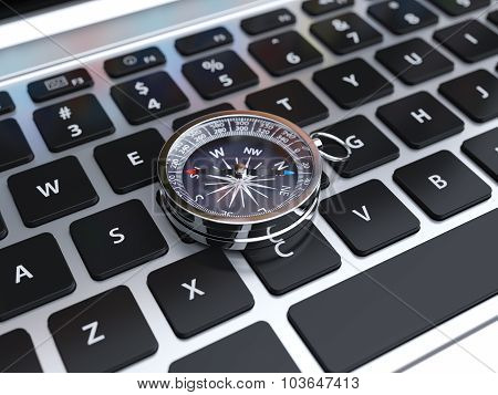 3D Render Of Compass Sign On The Computer Keyboard