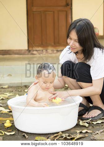 Asian Baby Boy Was Bathing