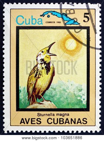 Postage Stamp Cuba 1983 The Eastern Meadowlark, Bird