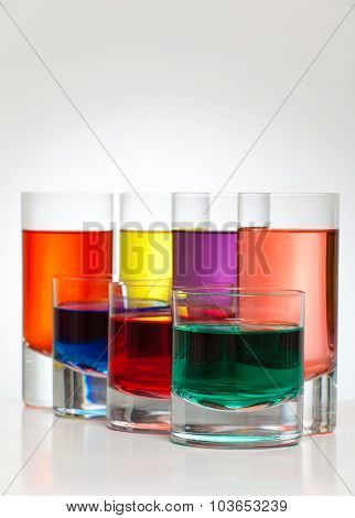 Beautiful colorful drinks back lit