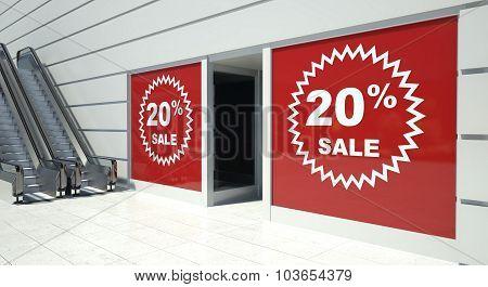 20 Percent Sale On Shopfront Windows And Escalator