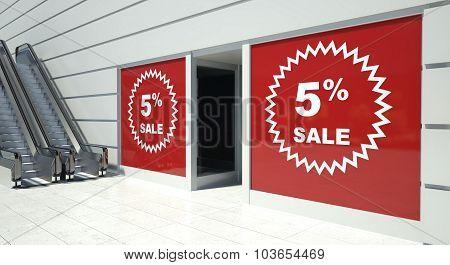 5 Percent Sale On Shopfront Windows And Escalator