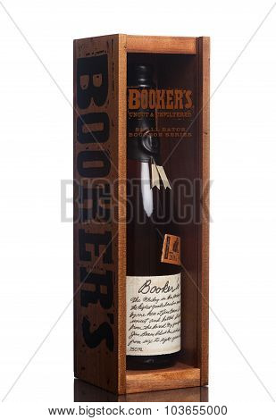 MIAMI, USA - JUNE 10, 2015: A bottle of Booker's Bourbon in its case.