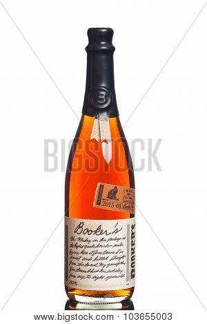 MIAMI, USA - JUNE 10, 2015: A bottle of Booker's Bourbon. Booker's is a rare barrel-strength bourbon