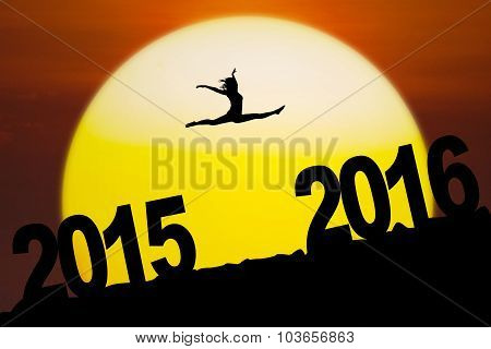 Silhouette Girl Jumping Through Numbers 2016