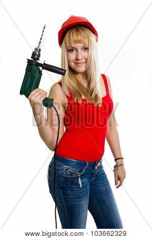 Beautiful woman with a drill