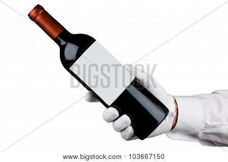 Server holding a bottle of wine