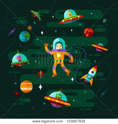 Vector flat space with ufo astronaut and planets. poster