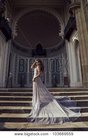 Beautiful Woman With Dark Hair Wears Luxurious Sequin Dress