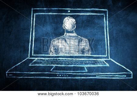 Sketch Successful Businessman On Netbook Computer Screen