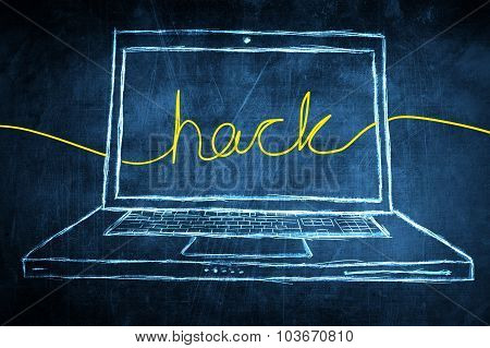 Sketch Netbook Computer Screen Internet Concept With Hack Word