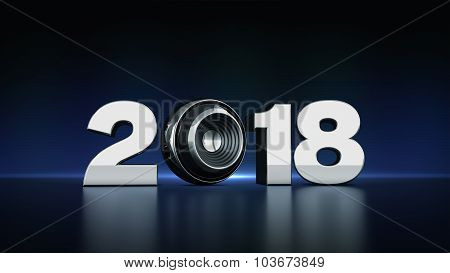 2018 text with sphere speaker 3D