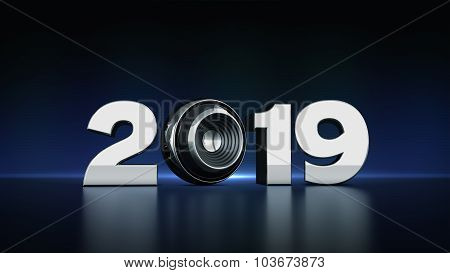 2019 text with sphere speaker 3D