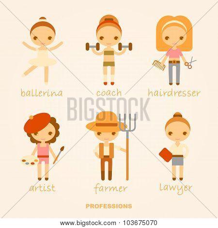 Vector cartoon illustrations of professions