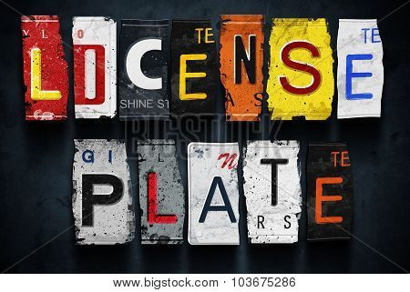 License Plate Word On Vintage Car Plates, Concept Sign