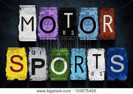 Motor Sports Word On Vintage Car License Plates, Concept Sign