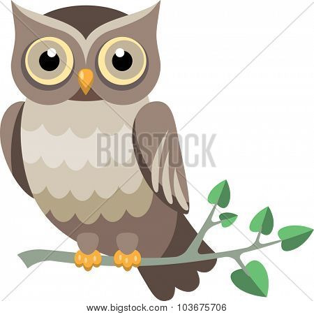 vector owl on a tree branch