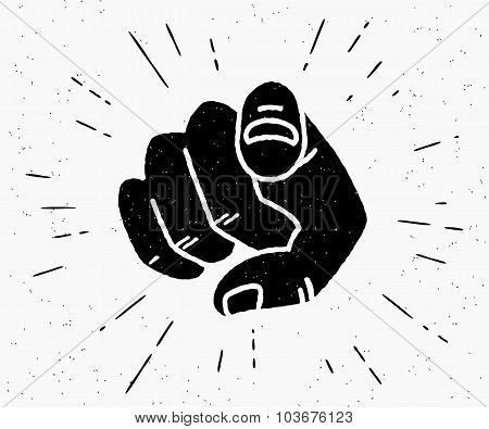 Retro black hand pointing finger