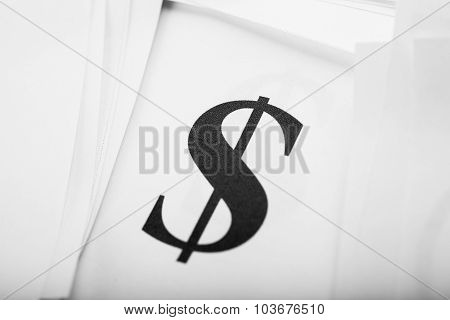 Close Up Too Dollar Sign On Paper, Background