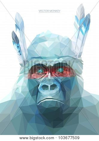 Monkey polygonal illustration. Vector  eps 10