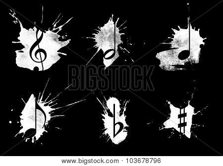 Ink splatter music icons set on black poster