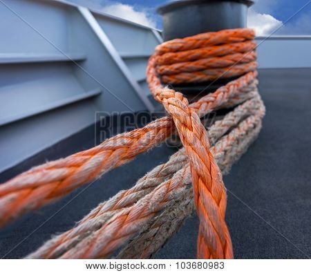 Orange Rope On Ship