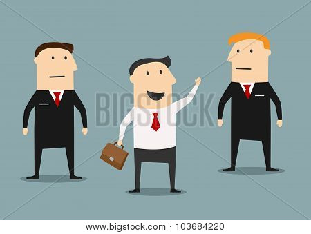 Businessman with bodyguards on meeting