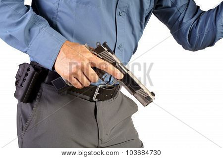 Executive Protection Man with Firearm Weapon