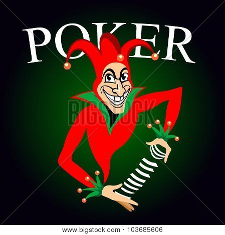 Poker game emblem with cartoon joker in colorful costume and hat with bells. Joker holds deck of playing cards in hands on dark green background with caption Poker poster