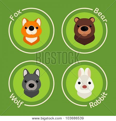 Set of icons of animals. Wolf, bear, fox and rabbit